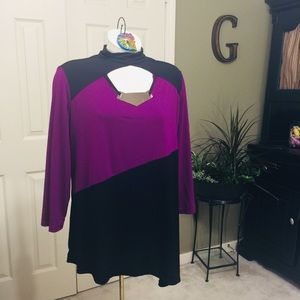 Slinky Brand Purple & Black Tunic Sz:L Choker Neck